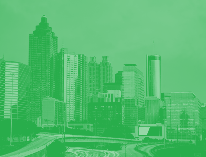 Philadelphia Skyline with green overlay