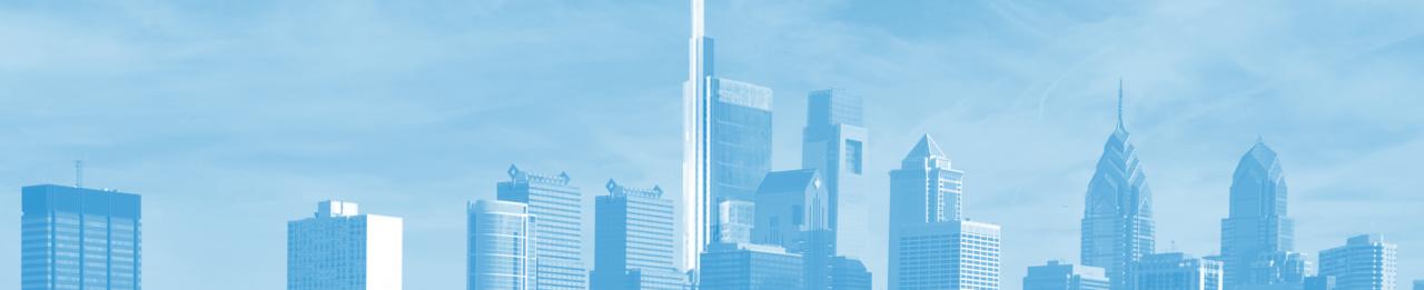 Philadelphia skyline with blue overlay